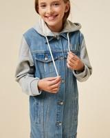 Hooded Longline Denim Jacket