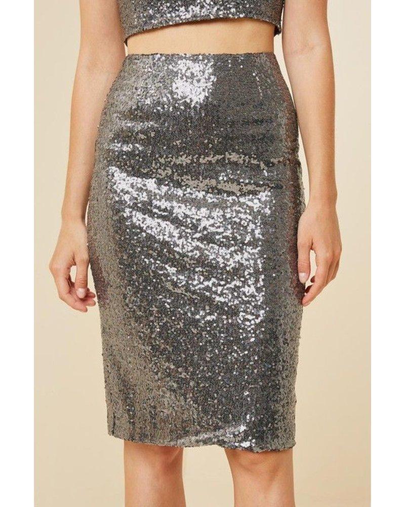 Metallic Sequin Midi Pencil Skirt