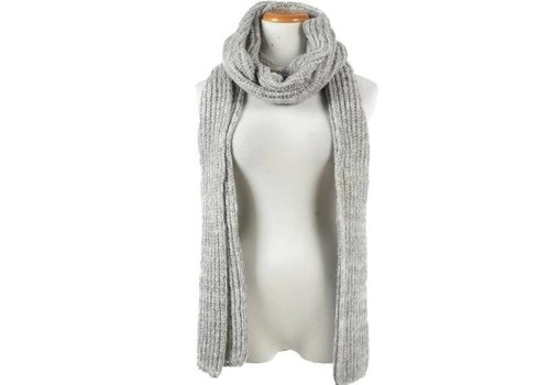 David & Young David & Young Propeller Knit Long Scarf Light Grey