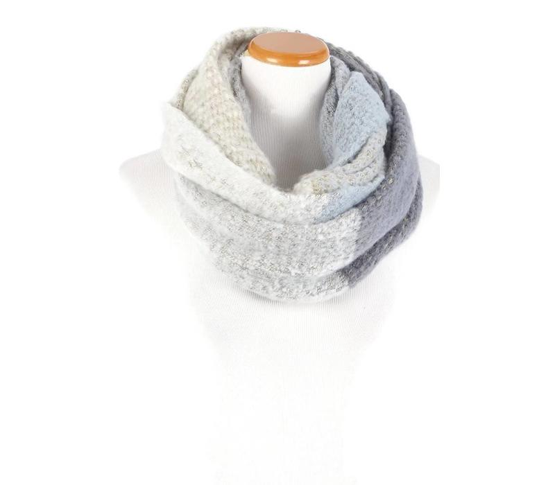 David & Young Color Block Brushed Infinity Scarf Blue