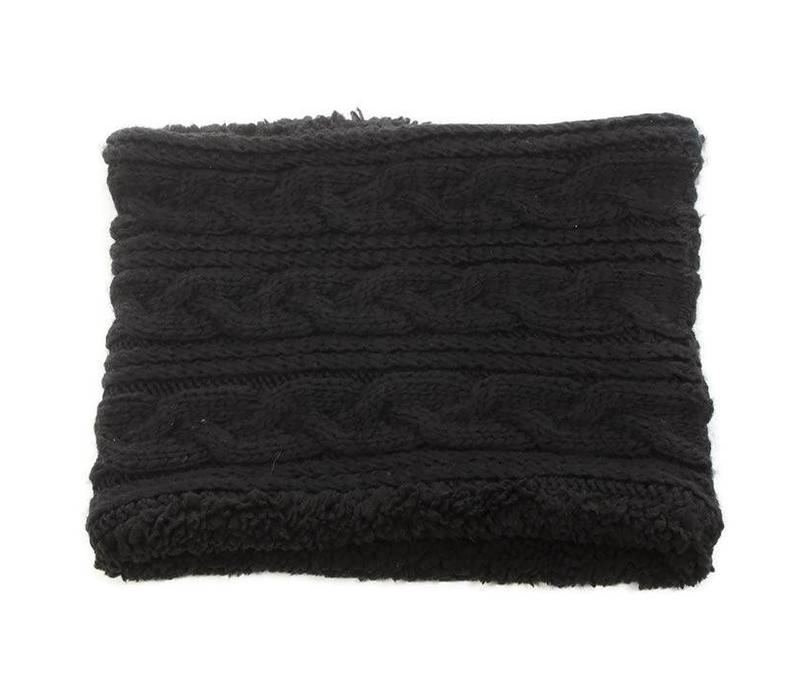 David & Young Solid Cable Knit Scarf Black