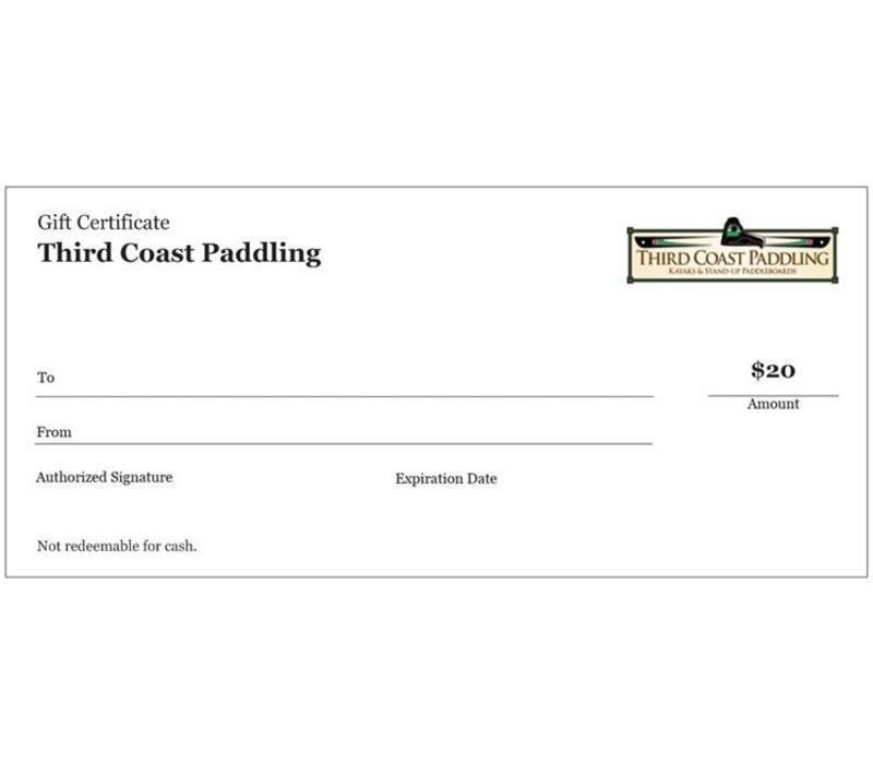 Third Coast Paddling $20 Gift Certificate