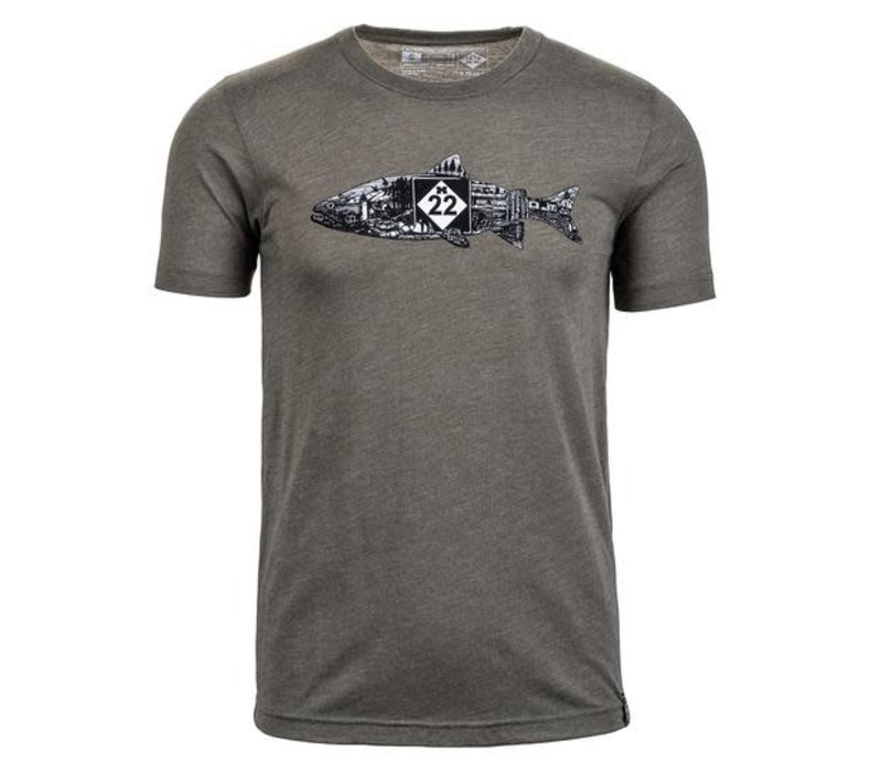 M22 Fish Line Art T-Shirt Olive