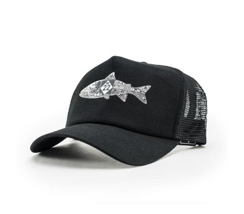 M22 Fish Trucker Hat Black