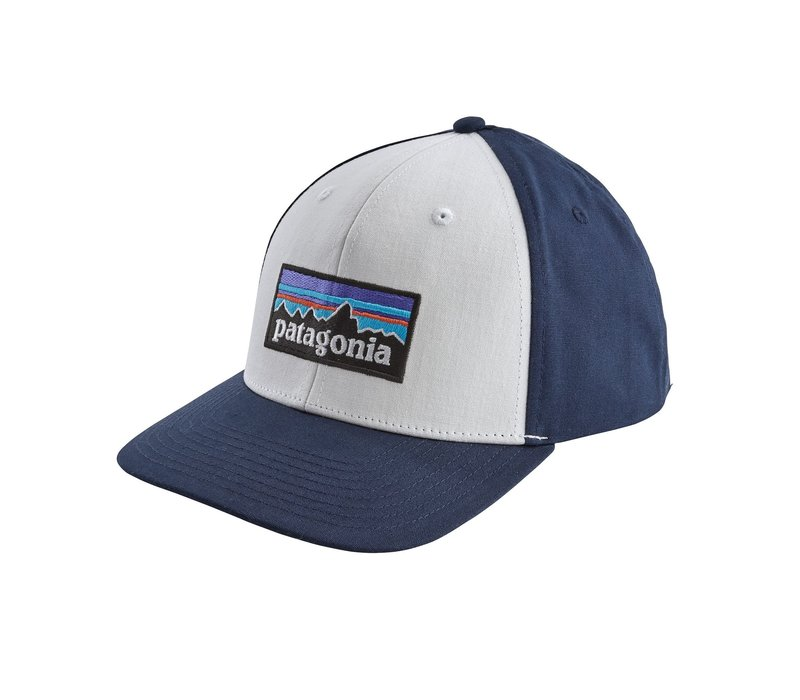 Patagonia P-6 Logo Roger That Hat White w/Classic Navy