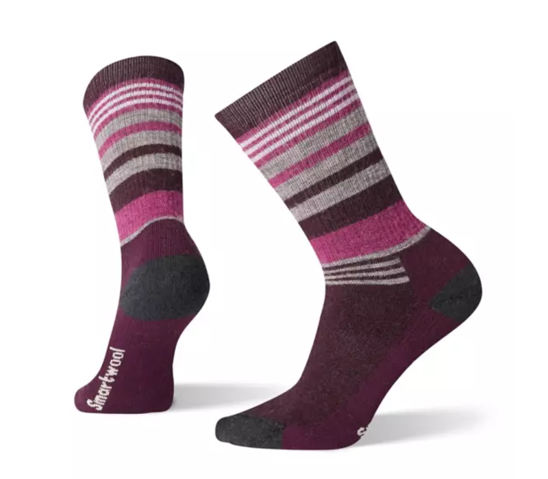 SmartWool Women's Hike Medium Striped Crew Bordeaux Medium