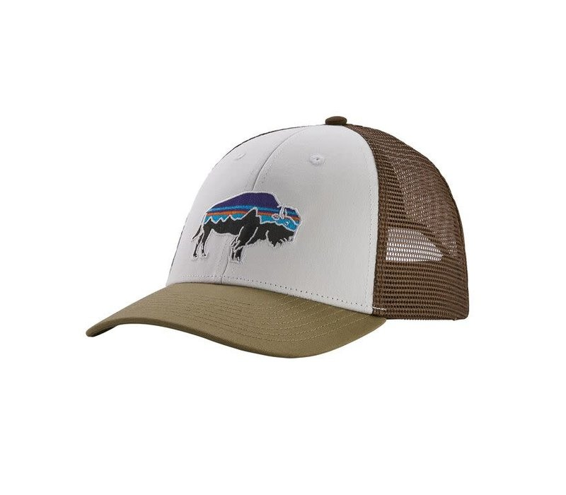 Patagonia Fitz Roy Bison LoPro Trucker Hat White w/Sage Khaki