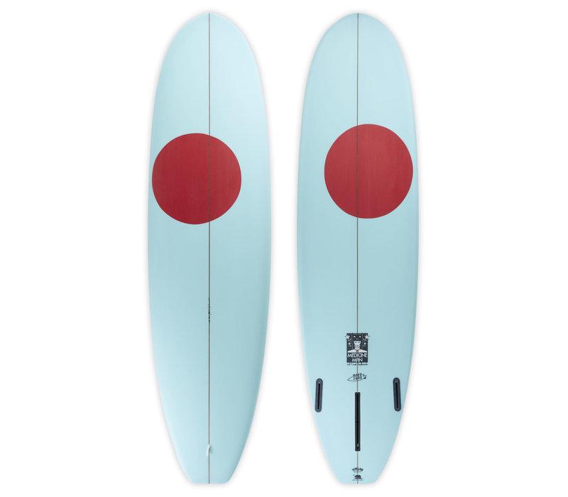 """3rd Coast Surfboards 8'6"""" Medicine Man V8 Teal w/Red Dot"""
