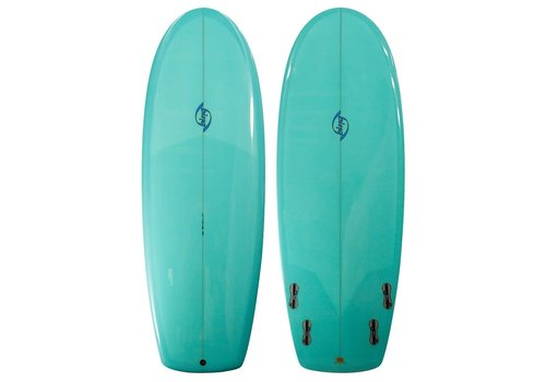 "Bing Surfboards Bing 6'6"" Puck Darkwood Stringer Aqua Tint"