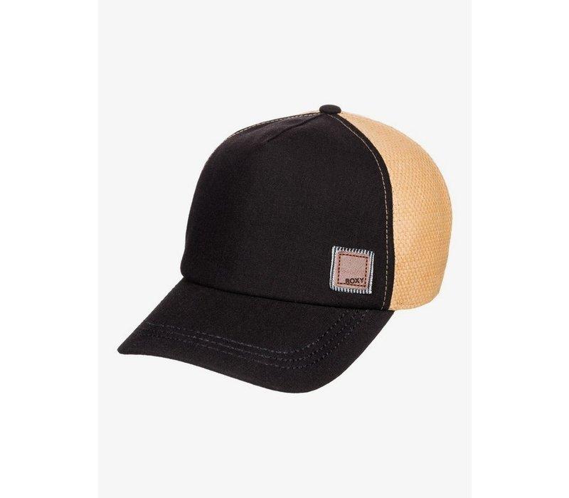 Roxy Incognito Straw Trucker Hat Anthracite