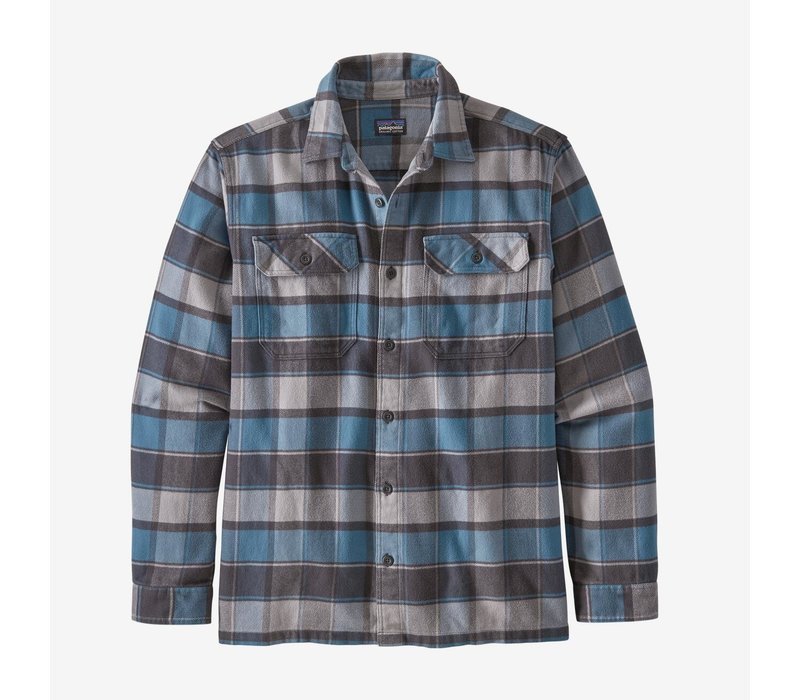 Patagonia Men's Long-Sleeved Fjord Flannel Shirt Plots: Pigeon Blue