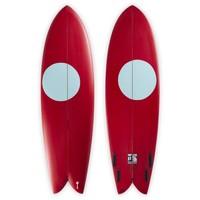 "3rd Coast Surfboards 6'4"" Warrior V8 Red w/Teal Dot"