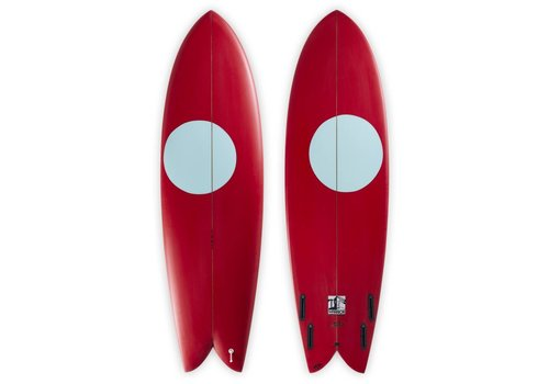 "Third Coast 3rd Coast Surfboards 6'4"" Warrior V8 Red w/Teal Dot"
