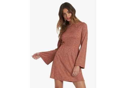 Roxy Roxy Strolling Through Long Sleeve Rib Knit Dress Auburn Heather