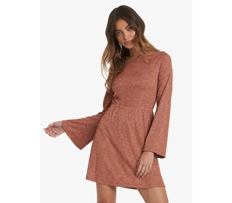 Roxy Strolling Through Long Sleeve Rib Knit Dress Auburn Heather