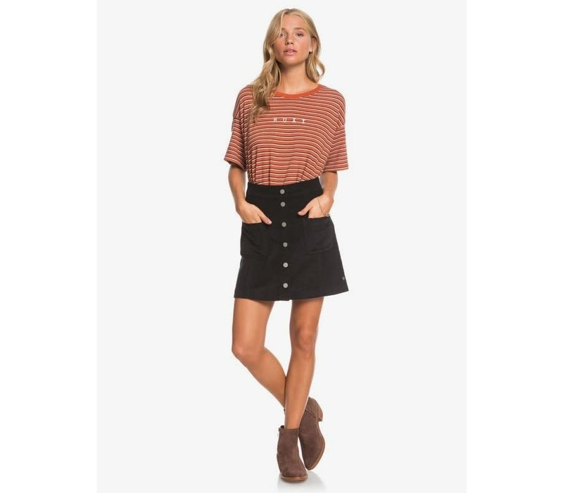 Roxy Warning Sign Buttoned Corduroy Skirt Anthracite