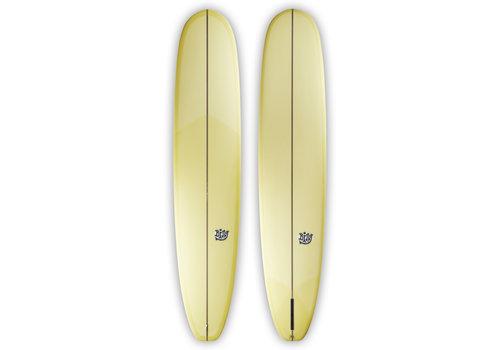 "Bing Surfboards Bing 9'0"" Beacon Darkwood Stringer Pale Yellow Tint"