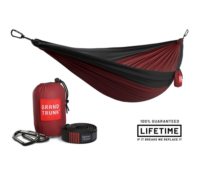 Grand Trunk Double Hammock w/Strap Crimson Charcoal
