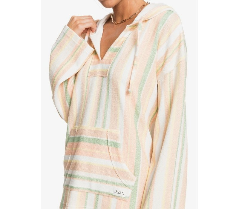 Roxy Waves And Rays Hoodie for Women Snow White Dreaming Stripes