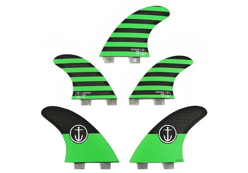 Captain Fin Co. Captain Fin CF 5 Fin  Medium Twin Tab Green