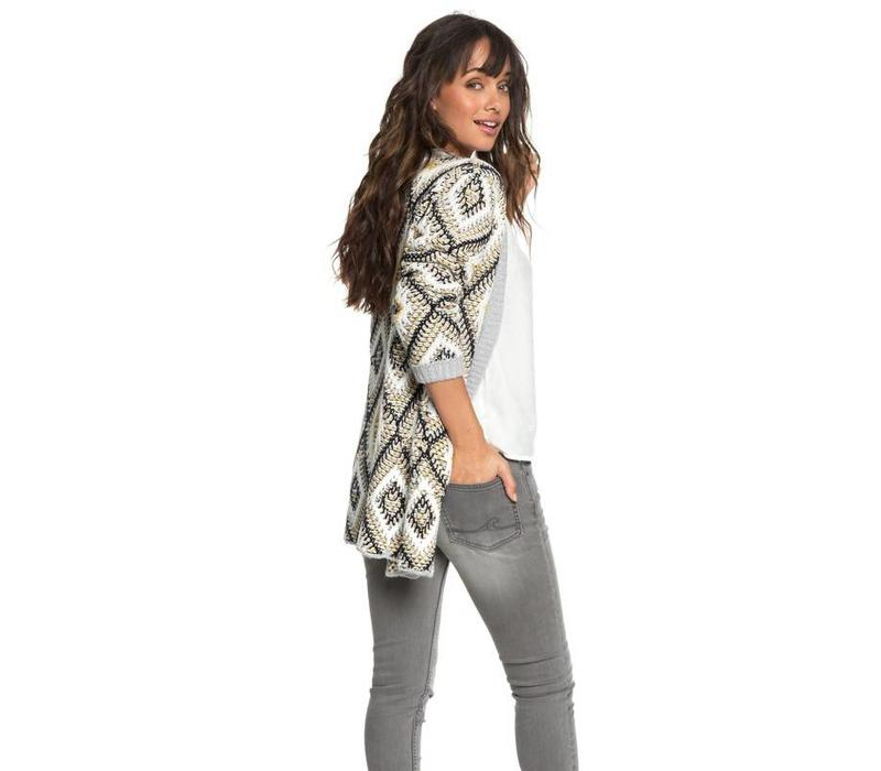 Roxy All Over Again Knitted Cardigan Heritage Heather