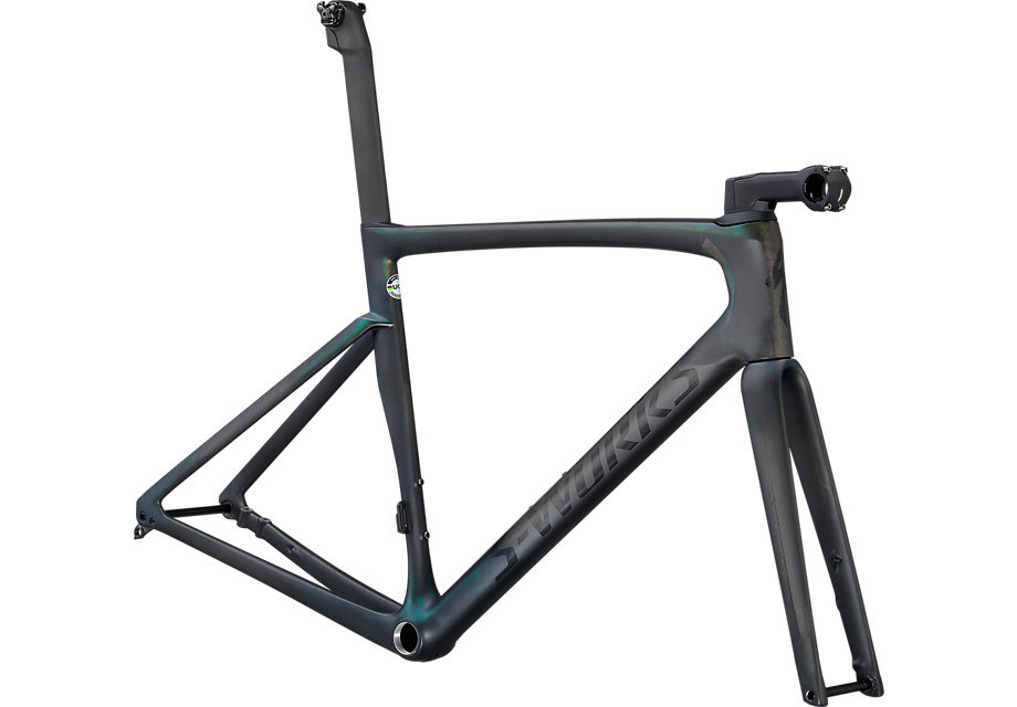 Specialized 2021 S-Works Tarmac SL7 Frameset Carbon/Chameleon Silver Green Color Run