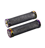 Supacaz Diamond Kush Locking Grips - Black with Oil Slick Rings