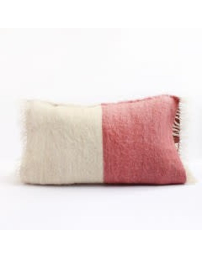 Saraka Wool Cushion | Rose + Natural w insert | 13 x 22