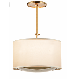 Large Pendant - Brass w Silk Shade
