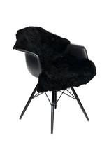 Black - Sheepskin - Short-wool - Curly - Rug - 115cm