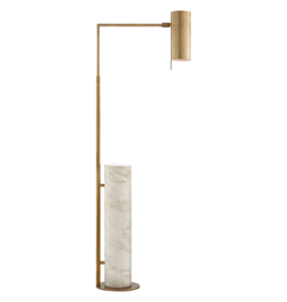 Alma Floor Lamp KW 1611AB/WM, Antique Burnished Brass and White Marble
