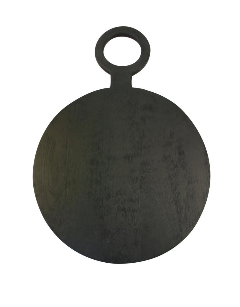 Brushed Black Wood Round Board - medium
