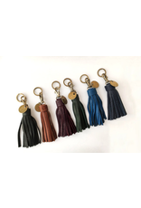 Cognac Leather Tassel Keychain