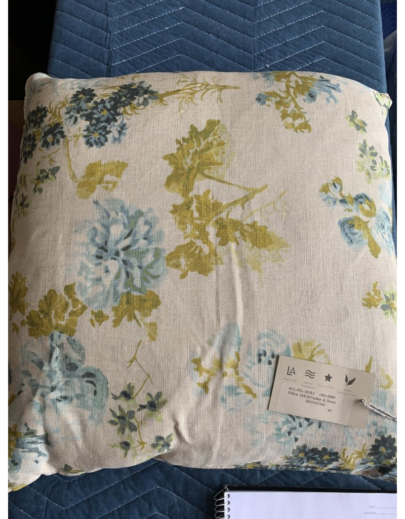 Cream with Blue and Yellow Flowers Pillow - Cisco