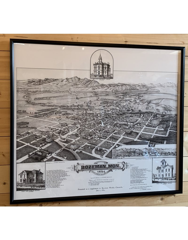 Birds Eye View of the City of Bozeman 1884 - Merritt Dana -70x40