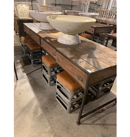 Long Work Table - wood top and metal legs