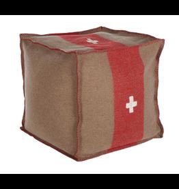 Swiss Army Pouf 18 x 18 x 18 brown/red