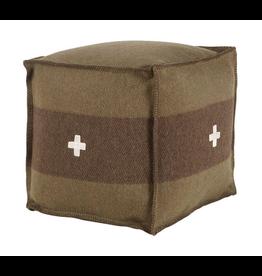 Swiss Army Pouf 18 x 18 x 18 green/brown
