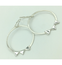 Sterling Silver Angular Accent Hoops