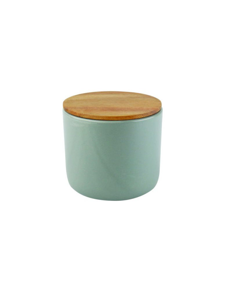 Stoneware Container with Acacia Lid - Large - Storm