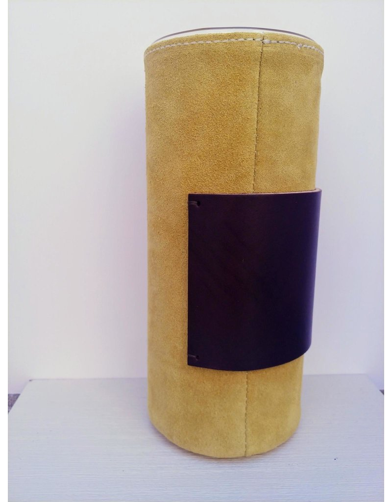 Suede Covered Glass Vase - long - lime