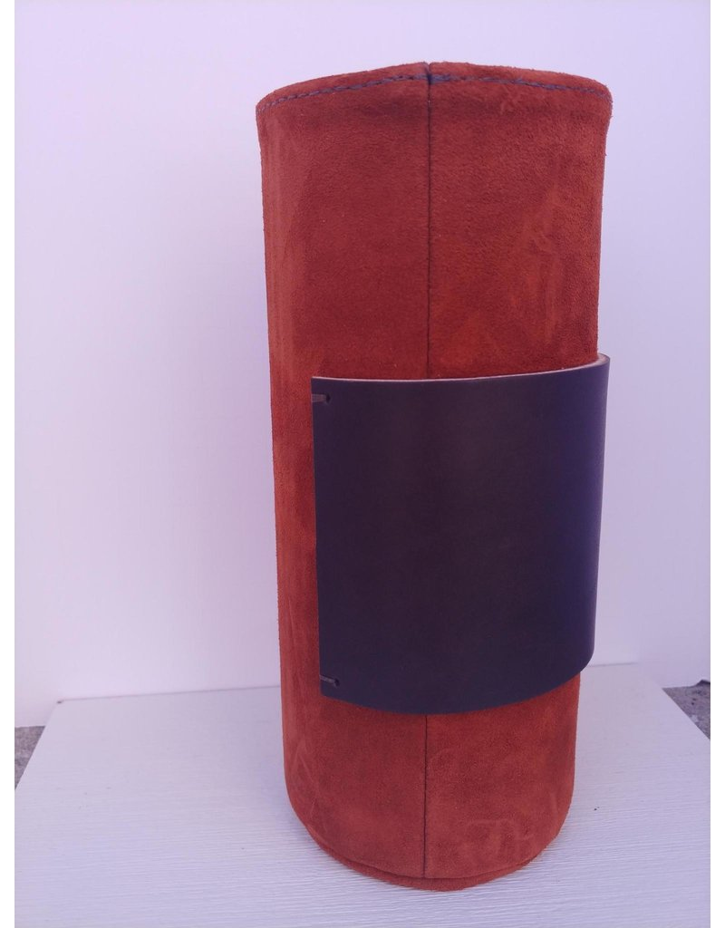Suede Covered Glass Vase - long - rust