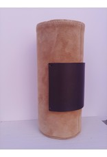 Suede Covered Glass Vase - long - taupe