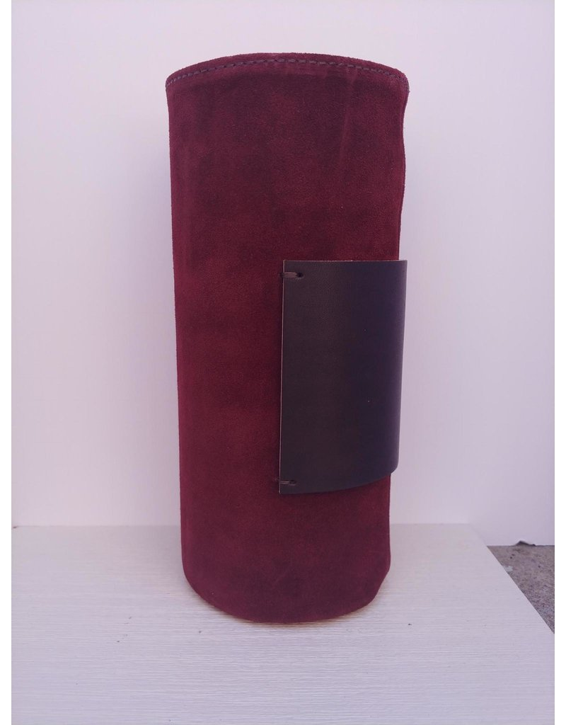 Suede Covered Glass Vase - long - burgundy