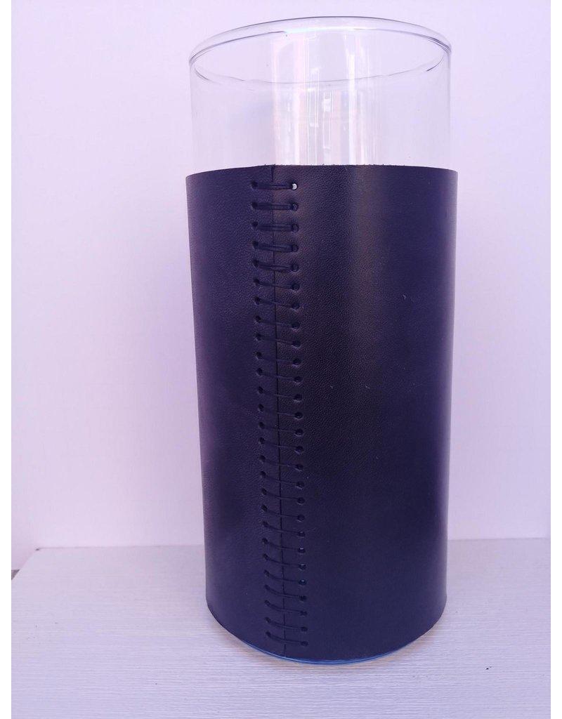 Leather Covered Glass Vase - mid - black