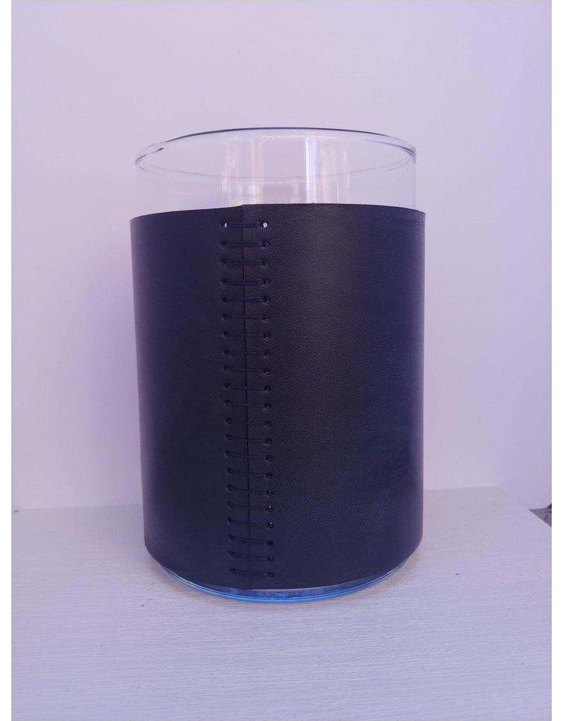 Leather Covered Glass Vase - short - black