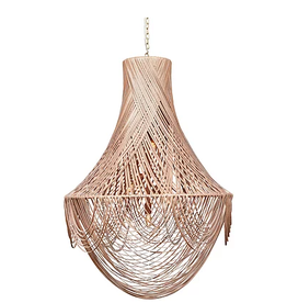 Large Empire Leather Chandelier, Leather: Cream Stone