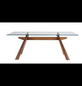 Mid | Zeus Table 79x42 Walnut/Glass