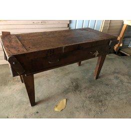 Antique Wood Block Table  *CS
