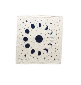 Moon Phases Printed Tea Towel - Navy